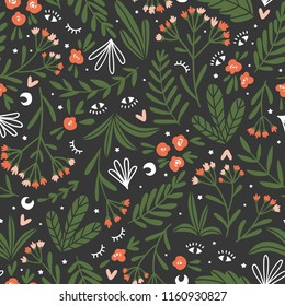 Moon herbs. Vector floral seamless pattern. Cute night design for fabric, wallpaper or wrap paper.