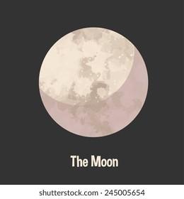 Moon icon, cartoon flat style vector illustration.
