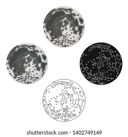 Moon icon in cartoon,black style isolated on white background. Planets symbol stock vector illustration.