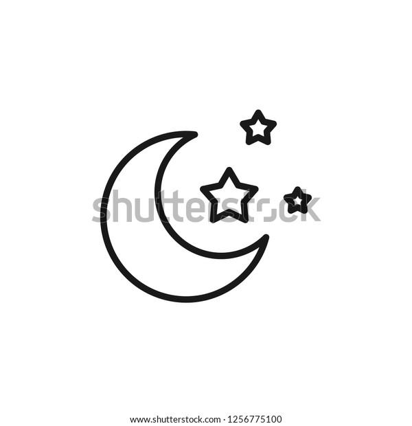 Moon Icon Editable Vector Stroke 64x64 Stock Vector (Royalty