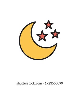 moon icon filled outline vector. isolated on white background