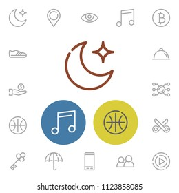 Moon icon with pin, bitcoin and basketball symbols. Set of cryptocurrency, cellphone, music note icons and see concept. Editable vector elements for logo app UI design.