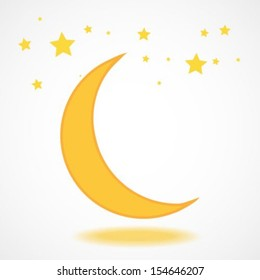 Moon icon with stars