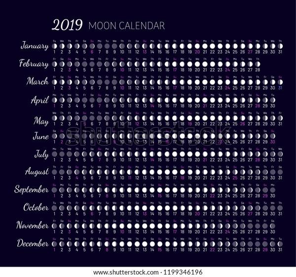 Calendrier Nouvelle Lune 2019.Image Vectorielle De Stock De Lillumination De La Lune Et De
