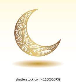 Moon illustration 3D effect element for Moslem, islamic, islam celebration