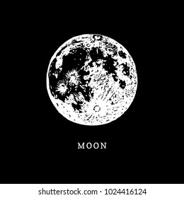 Moon image on black background. Hand drawn vector illustration.