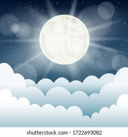 Moon light and cartoon clouds. Night moonlight cloud template mockup. Beautiful starry sky background