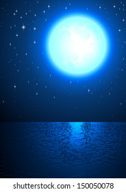 Moon Light Sea Surface Sky Star Fairy tale Vector
