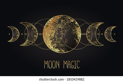 Moon magic. Triple moon pagan Wicca moon goddess symbol. Three-faced Goddess: Maiden – Mother – Crone vector illustration.  Tattoo, astrology, alchemy, boho and magic symbol golden over black.