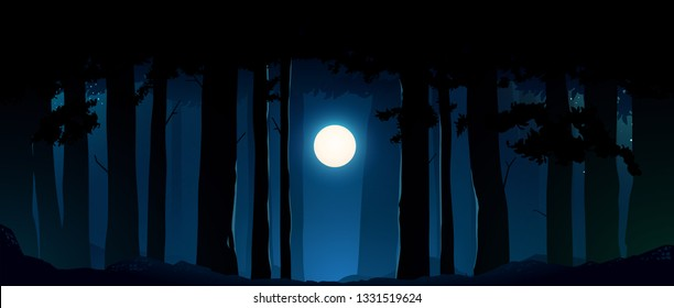 moon and midnight forest