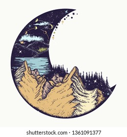 Moon and mountains color tattoo and t-shirt design. Infinite space, meditation symbols, travel and outdoor tourism