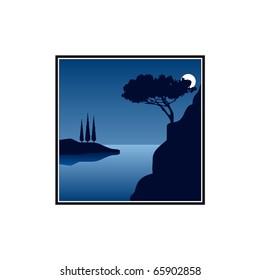 moon night at the coast - illustration