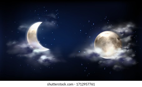 Moon in night sky with clouds and stars. Vector realistic illustration of full moon and crescent on dark midnight sky. Starry outer space with bright glowing planet and fog