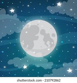 Moon at night, vector