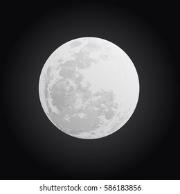 Moon on black background without stars, vector