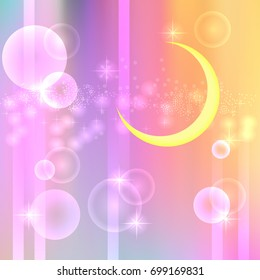 Moon on a pastel rainbow background. The style of Japanese animation. Magic print of universal use. Crescent and mesh holograms. Vector illustration EPS 10