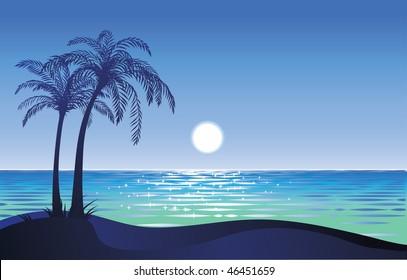 Moon on the tropical beach