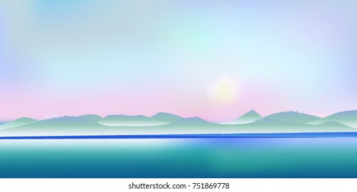 Moon over mountains landscape