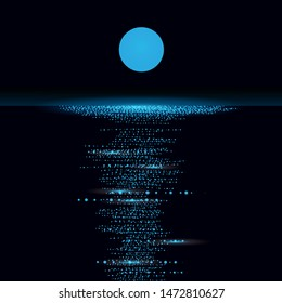 Moon over sea at night. Moonlight path. Vector. Blue.