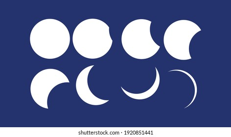 Moon Phase Vector on Blue Background, Icon of Moon Phases Astronomy.