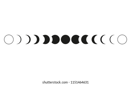 Moon phases astronomy icon set on white background. Vector Illustration