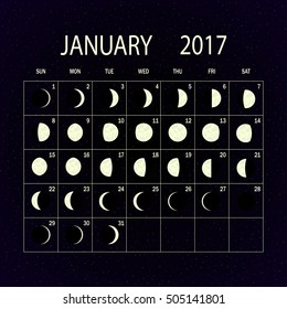 Moon phases calendar for 2017 on night sky. January. Vector illustration.