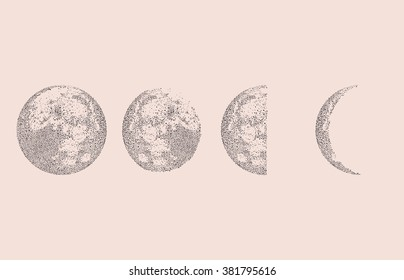 Moon phases decoration. Dotted Space Background. Vector illustration.