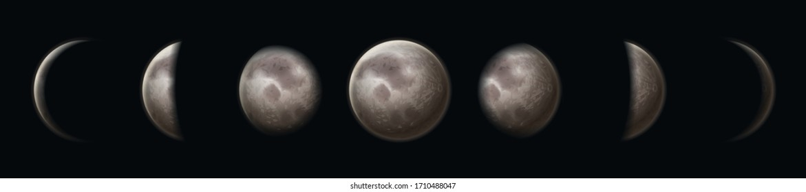 Moon phases. Earth satellite surface crescent on black starry sky. Lunar circle planet in night space. Astrology cosmic vector astronomy set