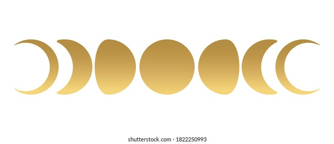 Moon phases gold set. Boho style. Vector.