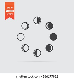 Moon phases icon in flat style isolated on grey background. For your design, logo. Vector illustration.