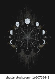 Moon phases, mystical t-shirt graphics, tee print design. Gold abstract composition suitable for apparel, card, poster design