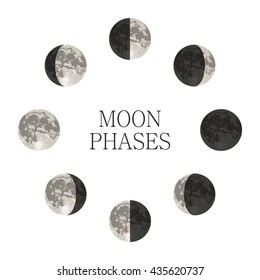 Moon phases night space astronomy and nature moon phases sphere shadow. The whole cycle from new moon to full moon. Gibbous vector