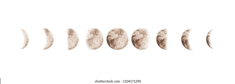 Moon phases set watercolor beige gray isolated on white background. Watercolour hand drawn earth satellite moon magic art work illustration. Abstract planet ball.