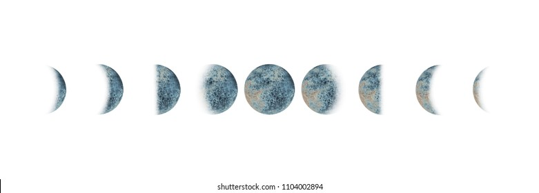 Moon phases set watercolor gray blue isolated on white background. Watercolour hand drawn earth satellite moon magic art work illustration. Abstract planet ball.