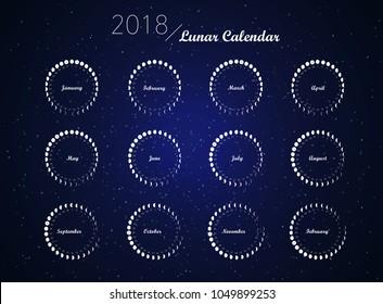 moon phases spiral calendar vector