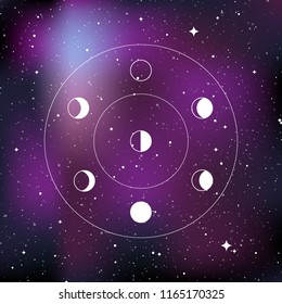 Moon phases. Star universe background. Concept of galaxy, space, cosmos. Vector illustration