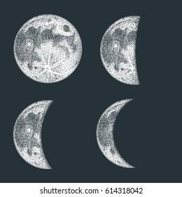 Moon phases vector illustration. Blackwork dotwork tattoo design.
