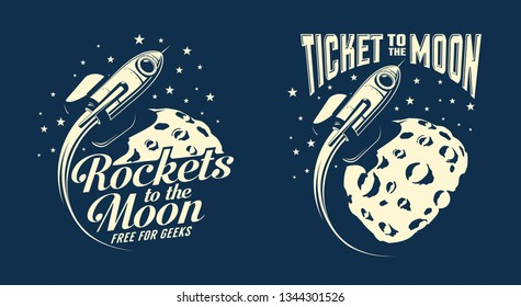 Moon posters with a flying rocket. Retro vintage stamp style. Vector illustration.