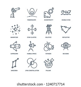 Moon, Pulsar, Lyra Constellation, Airscrew, Big bang, undefined, Magnitude, Capricorn, Solstice outline vector icons from 16 set