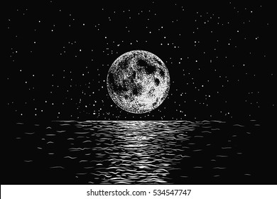 moon reflecting in a sea.Dotwork.Hand drawn style.Vector illustration