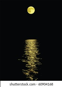 moon reflection over water against black background