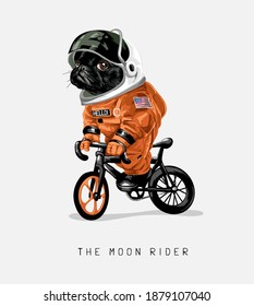 moon rider slogan with cartoon black dog in astronaut uniform riding bicycle illustration