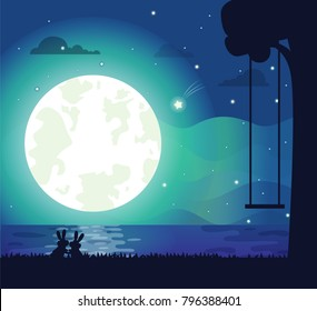 Moon and river silhouette, poster with bunnies and tree with swing, night sky and glowing stars, clouds, romantic isolated on vector illustration