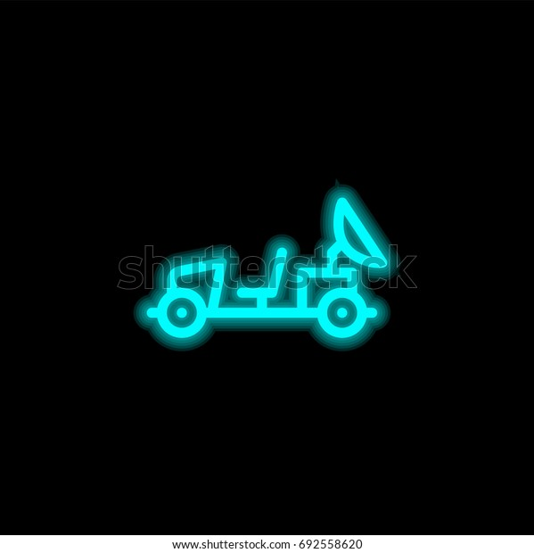Moon rover blue glowing neon ui ux icon. Glowing sign logo vector