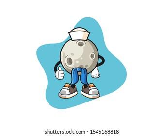 Moon sailor man cartoon. Mascot Character vector.