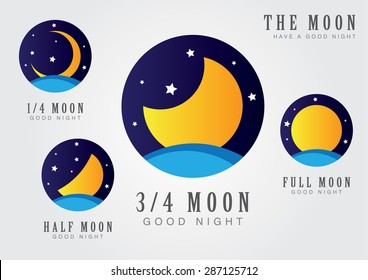 Moon set icon with star sky and sea. The moon and a goodnight.