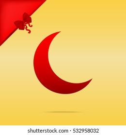 Moon sign illustration. Cristmas design red icon on gold background.