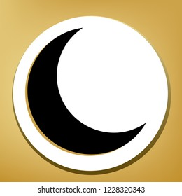 Moon sign illustration. Vector. Black icon with light brown shadow in white circle with shaped ring at golden background.