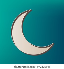 Moon sign illustration. Vector. Icon printed at 3d on sea color background.