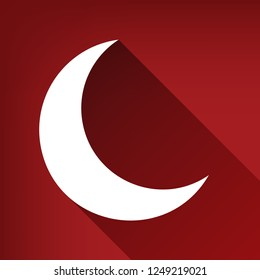 Moon sign illustration. Vector. White icon with limitless shadow at ruby red background.